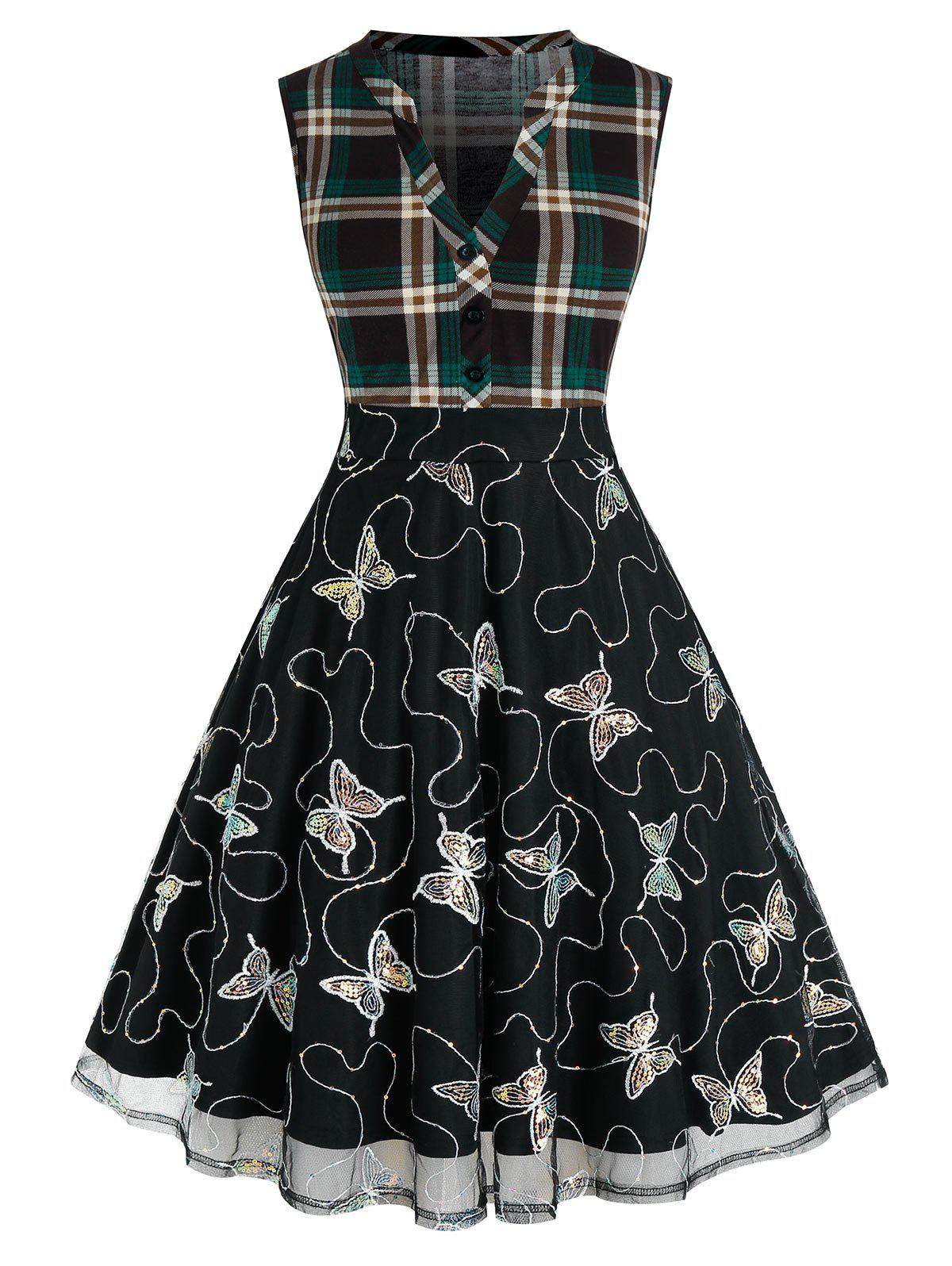 Online Plus Size Sequined Butterfly Plaid V Notch Mesh Dress