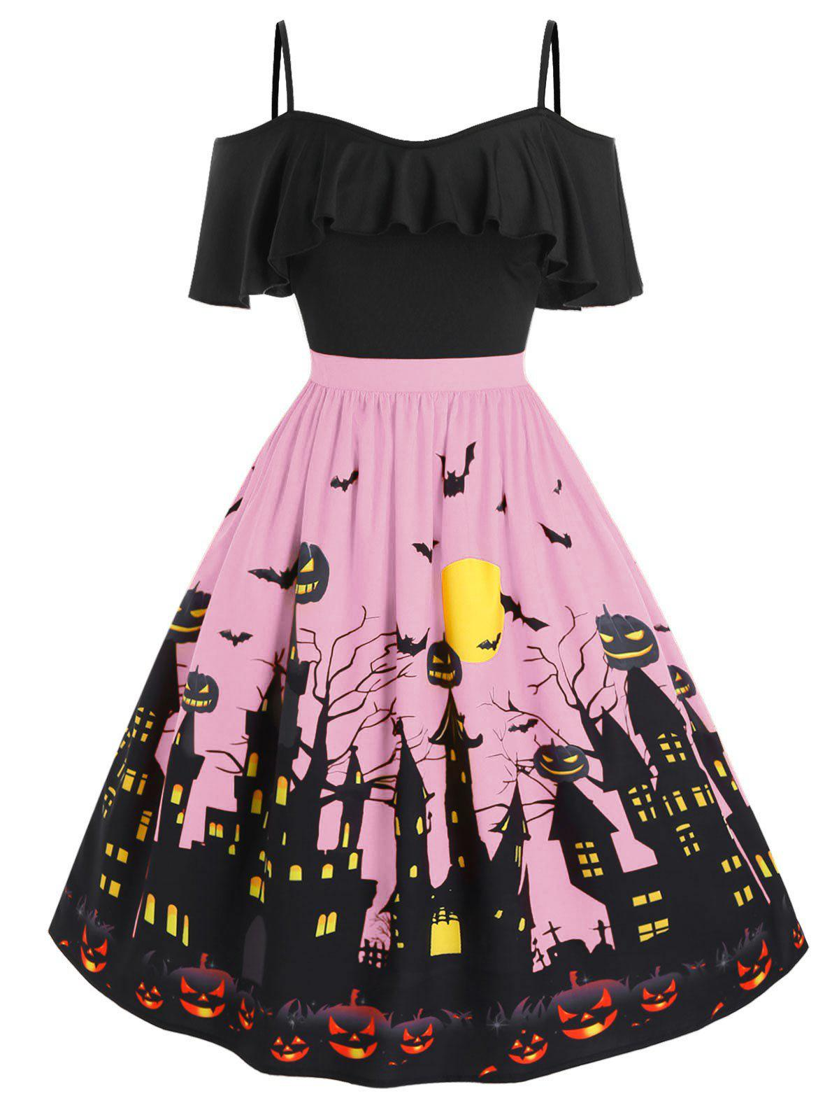 Best Plus Size Cold Shoulder Halloween Castle Pumpkin Flounce Dress
