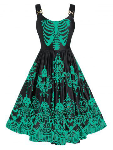 Plus Size Colorful Skulls Skeleton Halloween Backless Retro Dress - SEA TURTLE GREEN - 5X