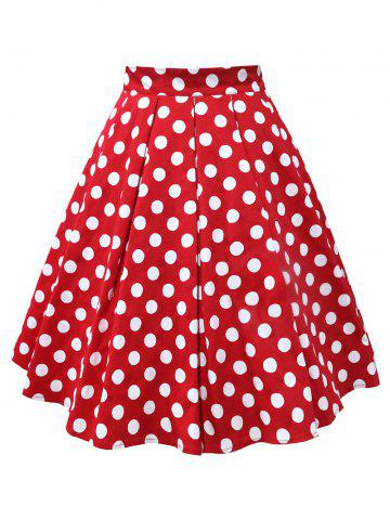 Plus Size Polka Dot A Line Skirt - RED - 3XL