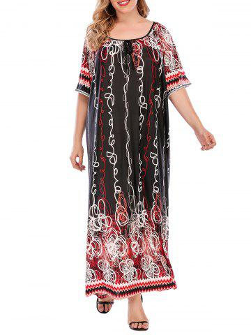 Plus Size Abstract Print Raglan Sleeve Floor Length Dress - DEEP RED - 3XL