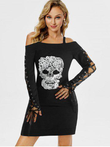 Gothic Skull Embroidery Cold Shoulder Dress