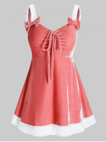 Plus Size Velvet Bowknot Tie Lingerie Dress with G-string - ROSE - 2X