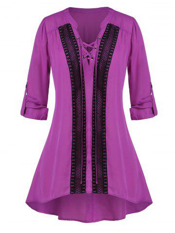Plus Size Lace-up Crochet Panel Roll Tab Sleeve Tunic Blouse