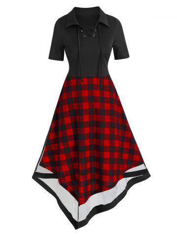 Plaid Print Lace Up Overlay Mesh Asymmetric Dress