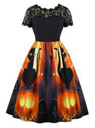 Halloween Pumpkin Spider Print Lace Panel Vintage Dress -