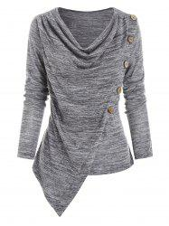 Oblique Buttons Cowl Neck Irregular Top -
