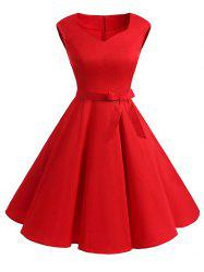 Plus Size Vintage Belted Pin Up Dress -