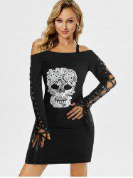 Gothic Skull Embroidery Cold Shoulder Dress -