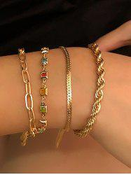 4Pcs Colored Faux Crystal Twist Chain Bracelet Set -