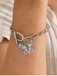 Engraved Butterfly Pendant Thick Chain Bracelet -