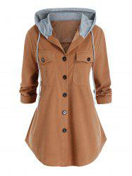 Plus Size Dual Pocket Hooded Button Front Curved Hem Coat -