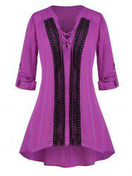 Plus Size Lace-up Crochet Panel Roll Tab Sleeve Tunic Blouse -