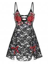 Flower Embroidered Criss-cross Bowknot Lace Babydoll -