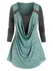Plus Size Space Dye Cowl Front Tee -