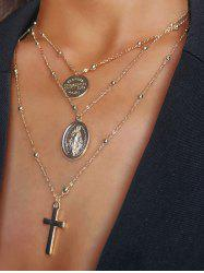 Engraved Cross Pendant Alloy Layered Necklace -