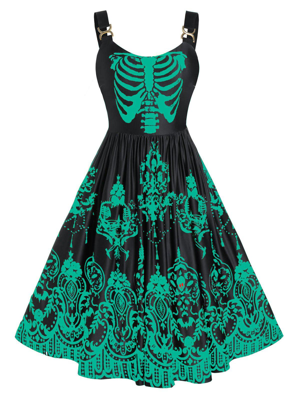 Cheap Plus Size Colorful Skulls Skeleton Halloween Backless Retro Dress