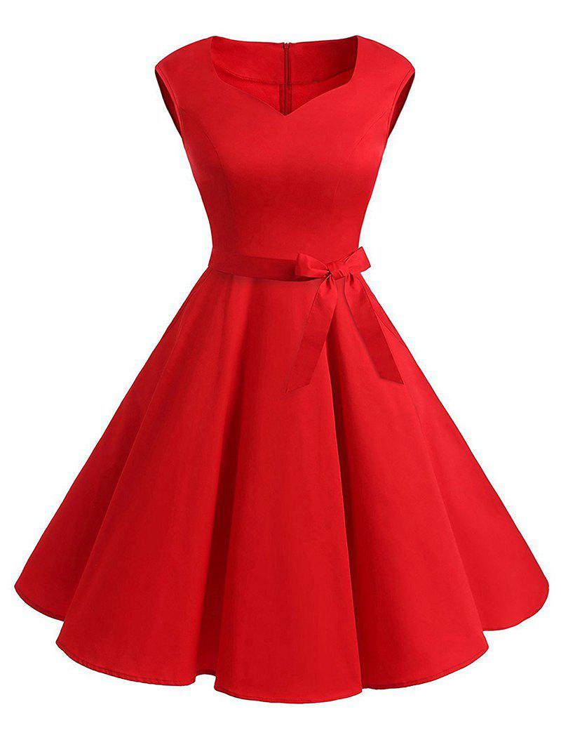 Online Plus Size Vintage Belted Pin Up Dress
