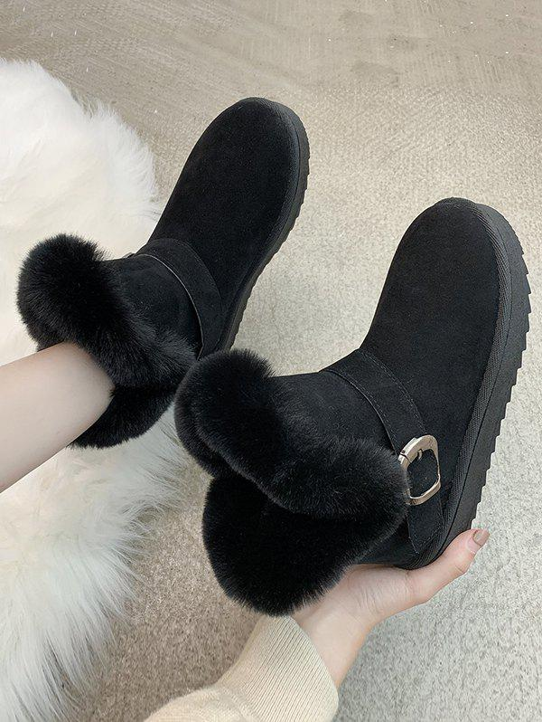 Buckle Faux Fur Ankle Snow Boots