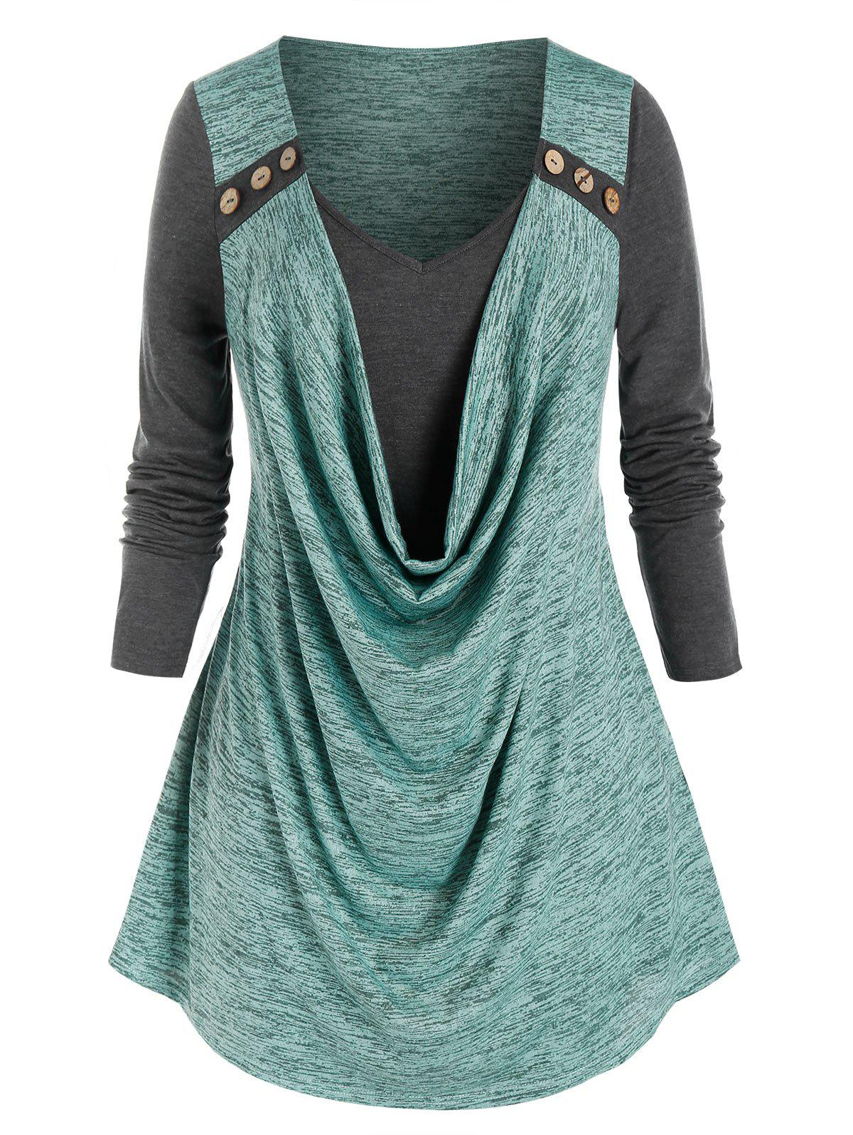 Latest Plus Size Space Dye Cowl Front Tee