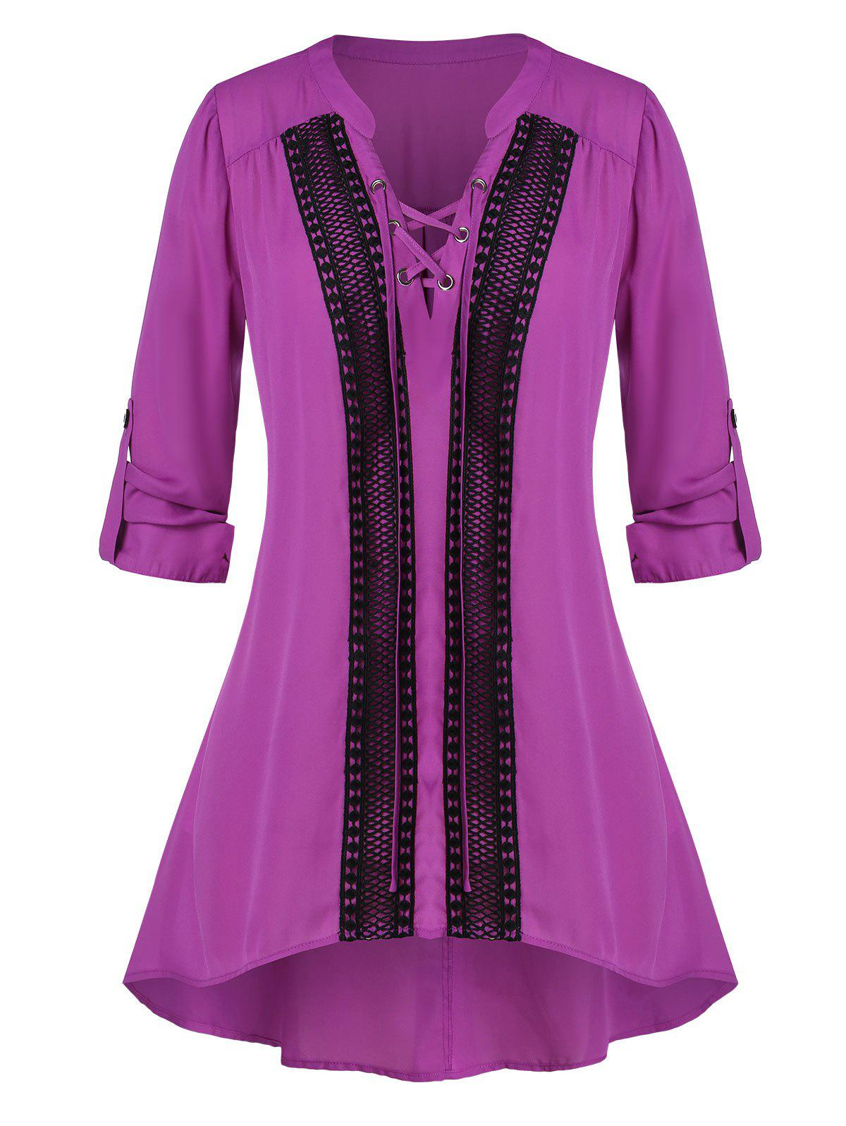 Hot Plus Size Lace-up Crochet Panel Roll Tab Sleeve Tunic Blouse