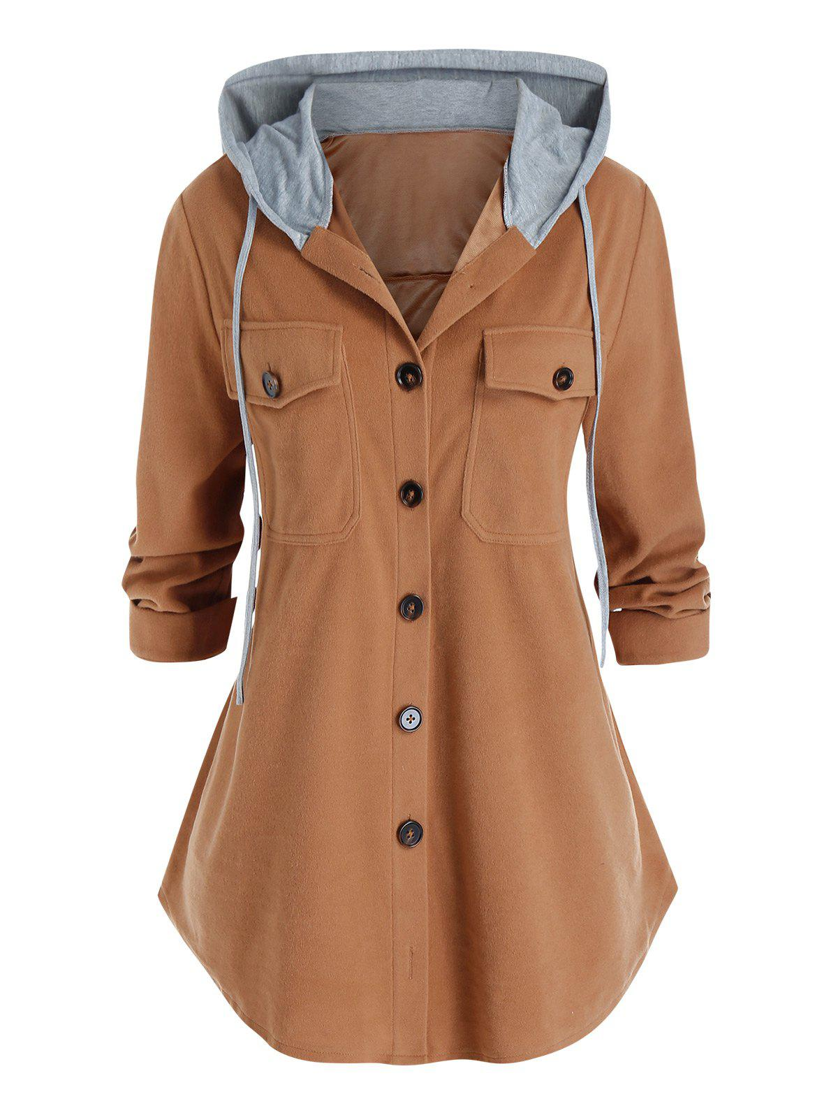 Online Plus Size Dual Pocket Hooded Button Front Curved Hem Coat