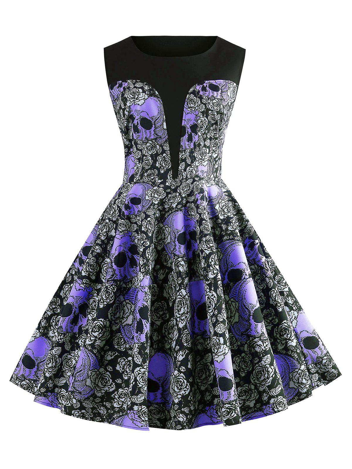 Outfits Halloween Skulls Flower Printed High Waisted Retro Dress