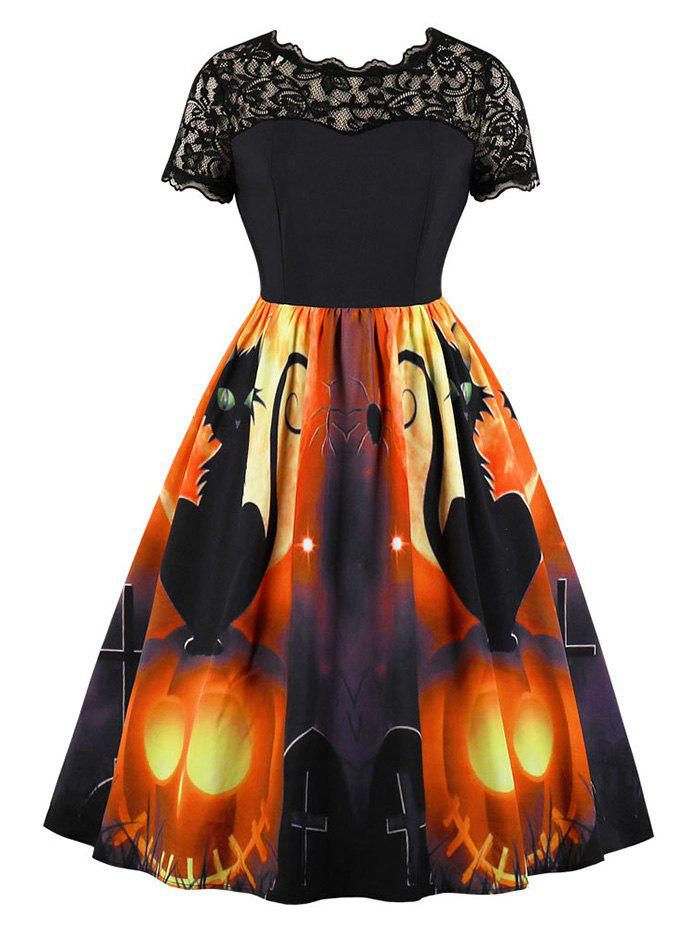 Buy Halloween Pumpkin Spider Print Lace Panel Vintage Dress