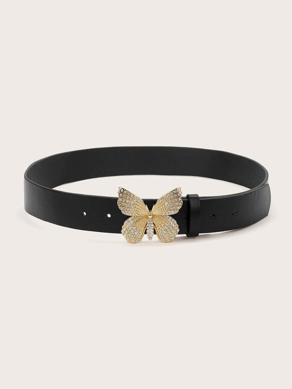 Store Carved Butterfly Rhinestone Buckle Belt