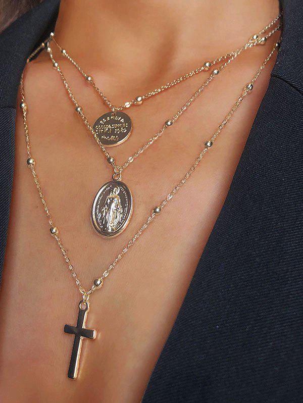 New Engraved Cross Pendant Alloy Layered Necklace