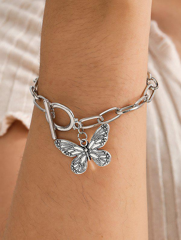 Store Engraved Butterfly Pendant Thick Chain Bracelet