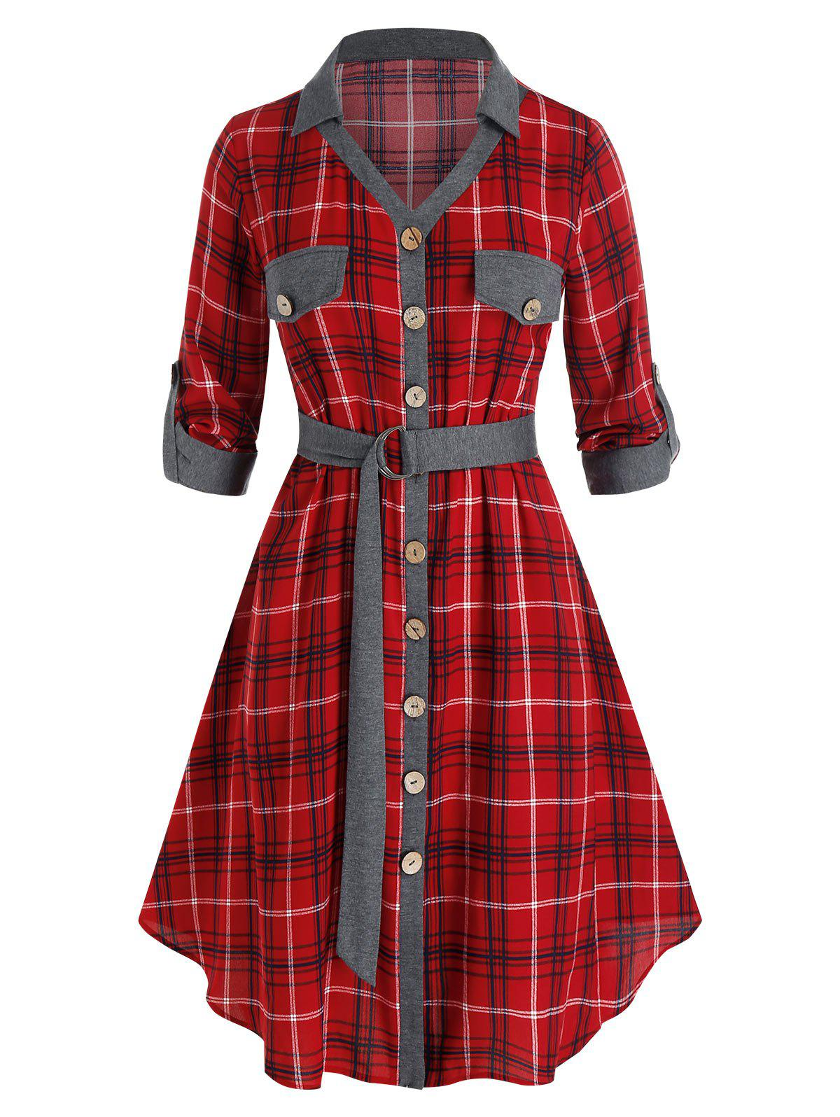 Plus Size Plaid Button Front Roll Tab Sleeve Belted Dress