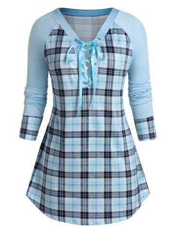 Plus Size Raglan Sleeve Checked Tunic Sweatshirt - ROBIN EGG BLUE - 4X