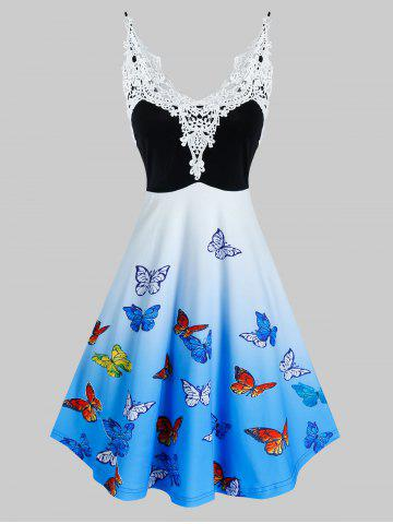 Lace Insert Ombre Color Butterfly Print Dress