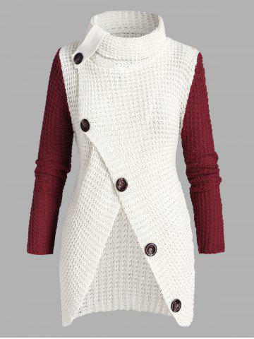 Plus Size Turtleneck Buttoned Front Slit Chunky Sweater - WHITE - ONE SIZE