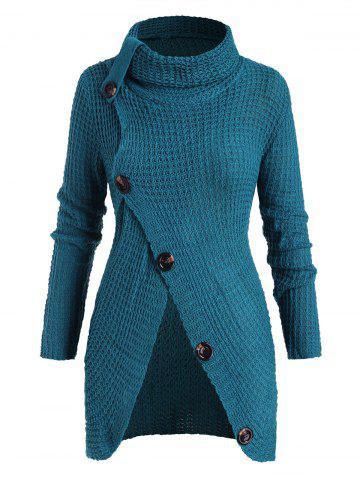 Plus Size Turtleneck Buttoned Front Slit Chunky Sweater - BLUE - ONE SIZE