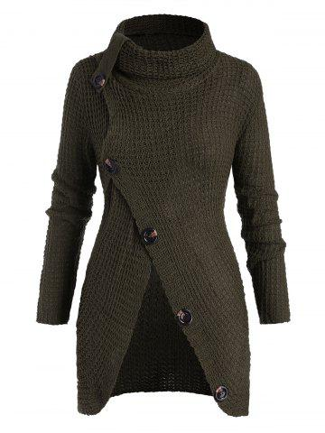Plus Size Turtleneck Buttoned Front Slit Chunky Sweater - DEEP GREEN - ONE SIZE