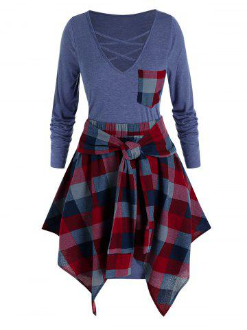 Plus Size Lattice Pocket Tee Dress with Handkerchief Plaid Skirt Set