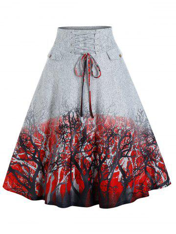 Trees Print Lace-up Front High Waisted Skirt - GRAY - M