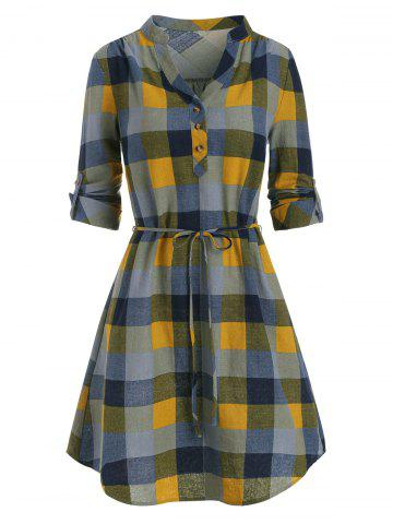Half Button Plaid Print Belted Dress