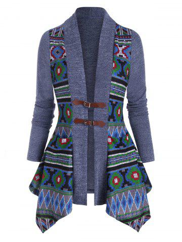 Pocket Buckle Front Geometric Cardigan