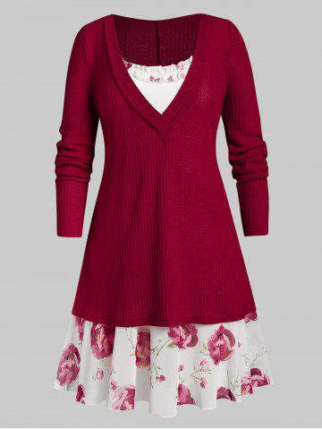 Plus Size Plunging Knitwear with Ruffle Flower Print Cami Dress - RED WINE - 5X