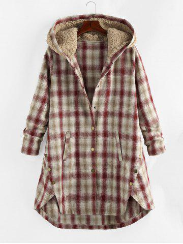 Plus Size Teddy Hood Plaid Pocket M-slit Coat