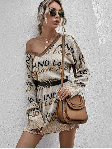 V Neck And Love Graphic Distressed Sweater Dress