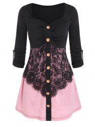 Flower Lace Panel Two Tone Mock Button T-shirt -