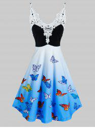 Lace Insert Ombre Color Butterfly Print Dress -