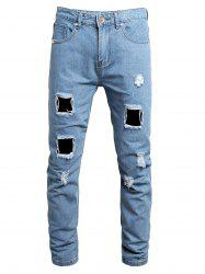 Destroy Wash Ripped Long Jeans -