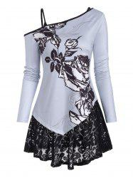 Skew Collar Floral Long Sleeve Top and Lace Camisole -
