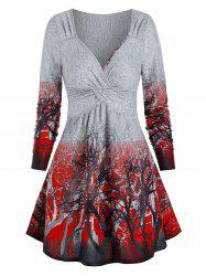 Trees Print Twist Front Long Sleeve Dress -