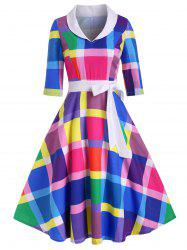 Bowknot Rainbow Plaid Side Zipper Vintage Dress -